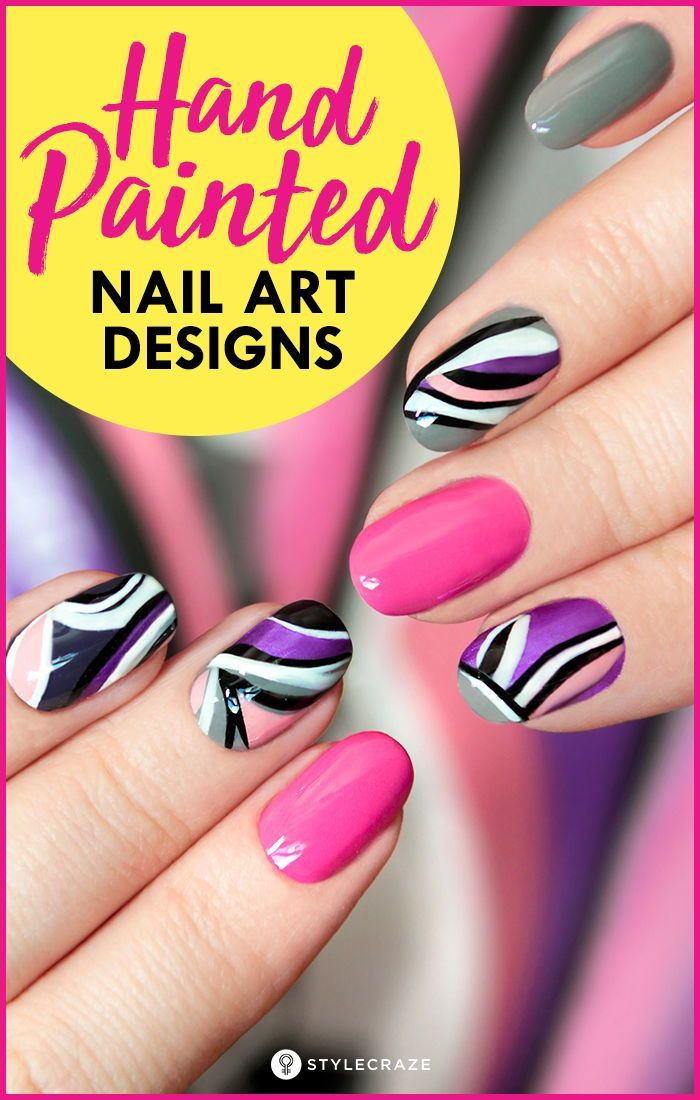 10 Amazing Hand Painted Nail Art Designs Most Of Us Girls Like To Sport Easy To Do Floral Designs On The Nai Nail Art Designs Painted Nail Art Purple Nail Art