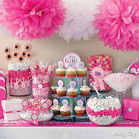 lots of supercute its a girl baby shower candy buffet ideas in perfect pink and white