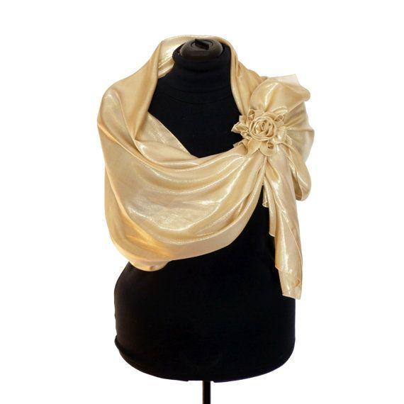 STOLA in SETA MISTA Coprispalle Scialle Sciarpa da donna Colore Oro Scialla  Abbigliamento da donna Multiuso Foulard d oro 74fd8acc6b9