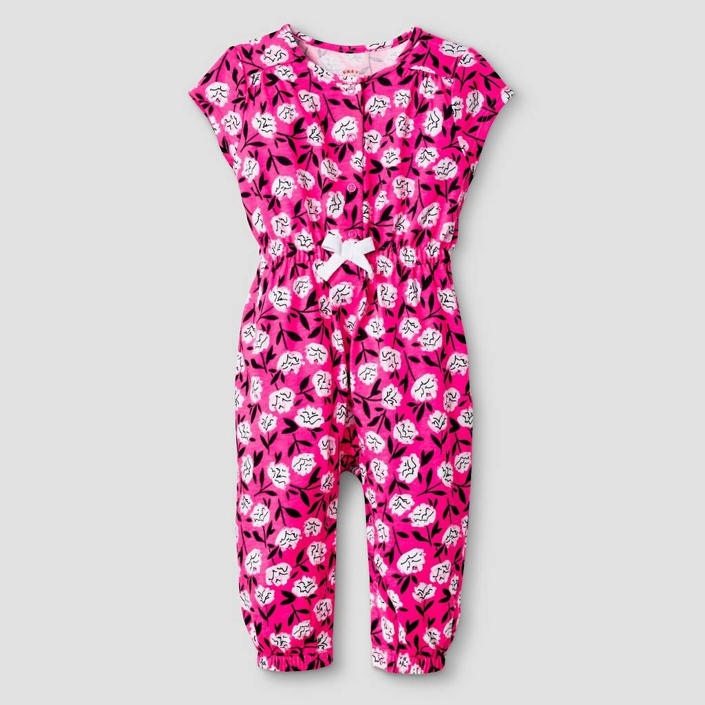 Baby Girls' Short-Sleeve Floral Romper Baby Cat & Jack™ - Pink/Purple. Image 1 of 1.