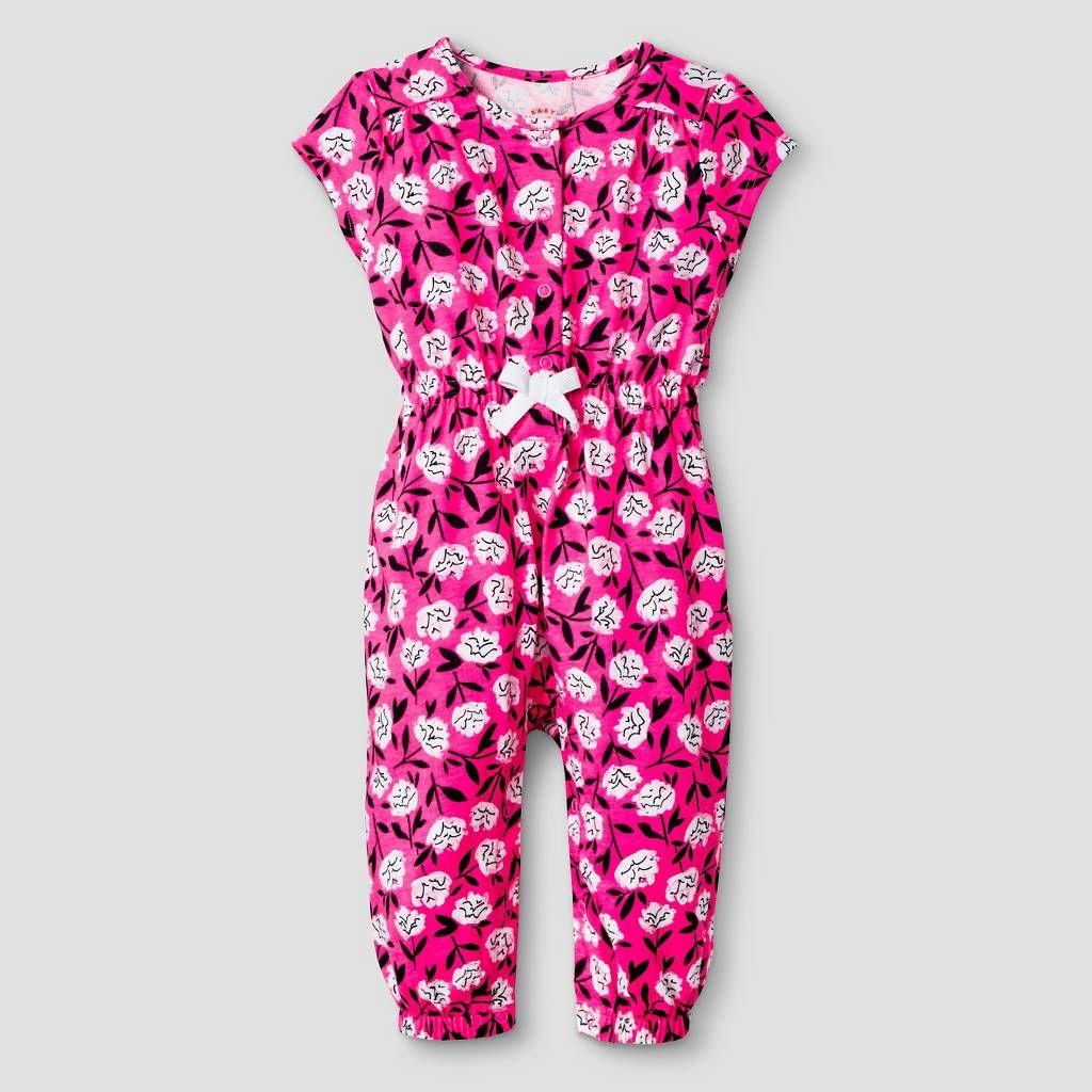 Baby Girls' Short-Sleeve Floral Romper Baby Cat & Jack™ - Pink/Purple. Image 1 of 1.