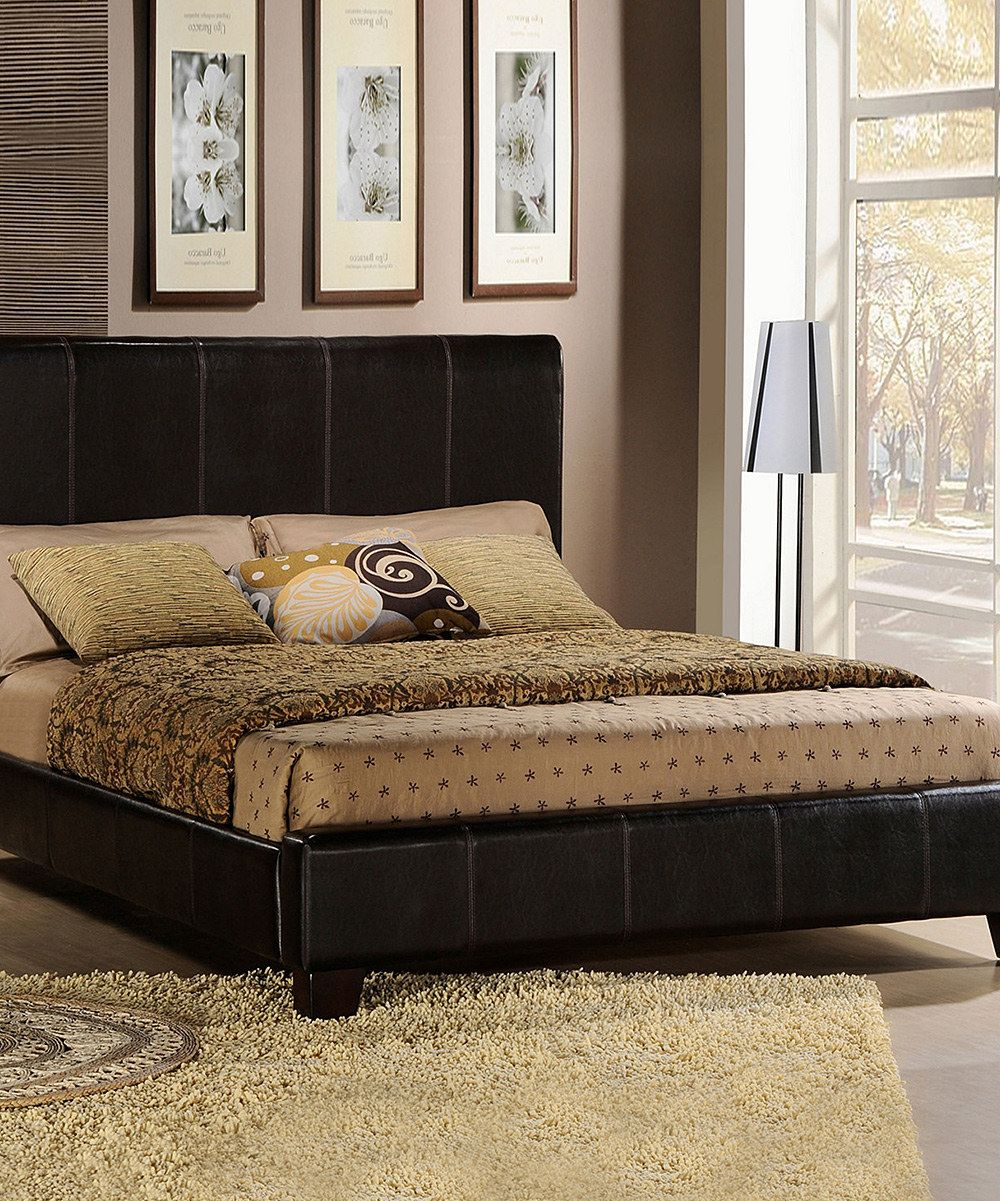 Dark Brown Upholstered Queen Bed zulily Leather bed