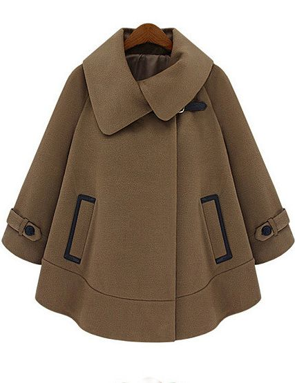 Coats - Batwing Long Sleeves Pocketed Camel Coat your personal style online  store. buy now ❀ ✿
