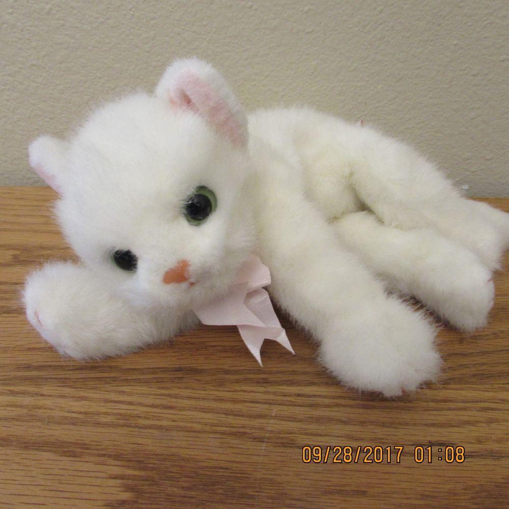 1996 Vtg Ty Plush White Crystal Cat Kitten Pink Bow Green Eyes