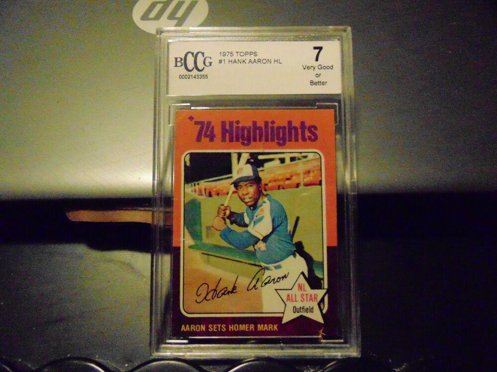 1975 topps hank aaron 1 baseball card hl psa graded 7
