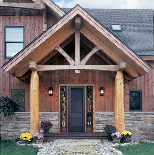 Timber Frame Entrance King Post Truss 2 Dream Home