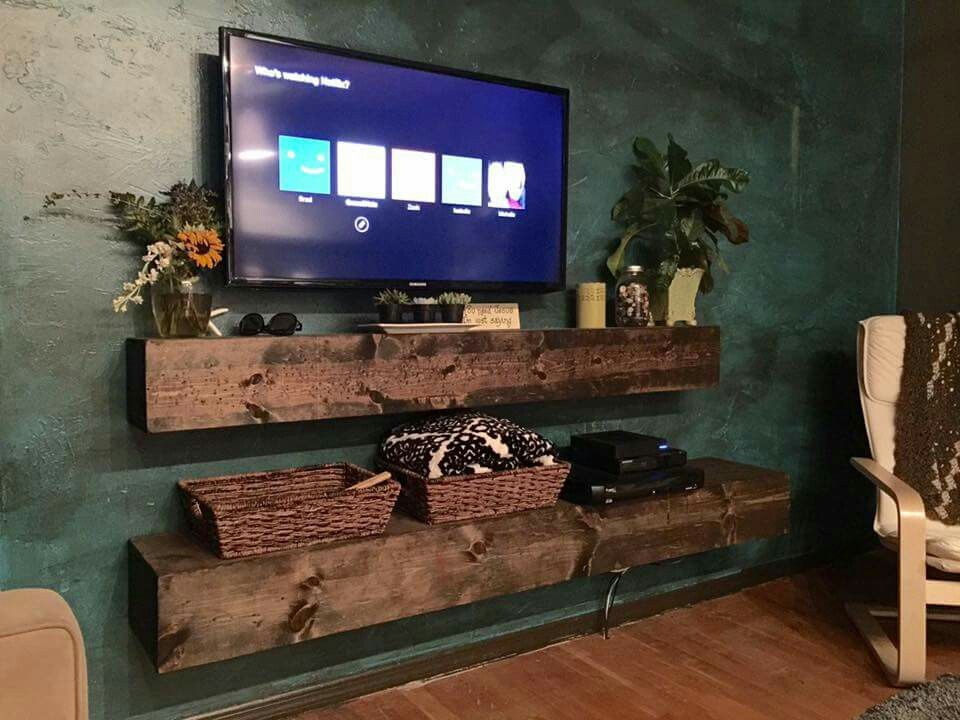 Wall mount tv with floating shelves cool diy decorating for Cool tv wall mounts