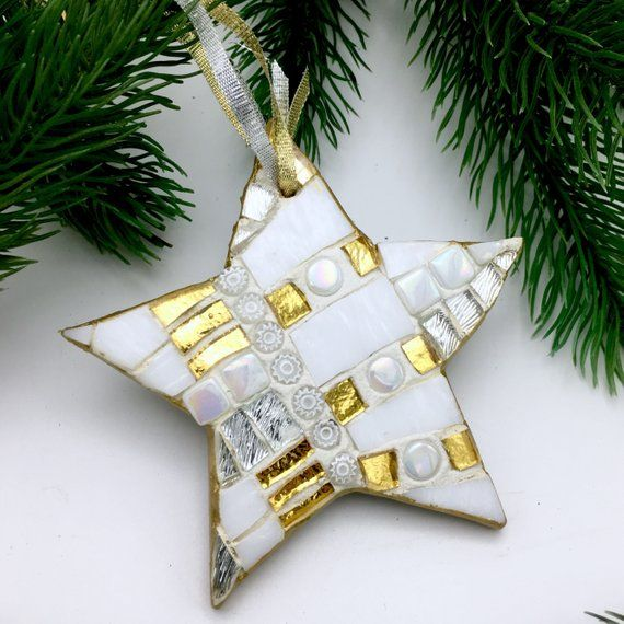 Rustic Stained Glass Christmas Tree Ornament
