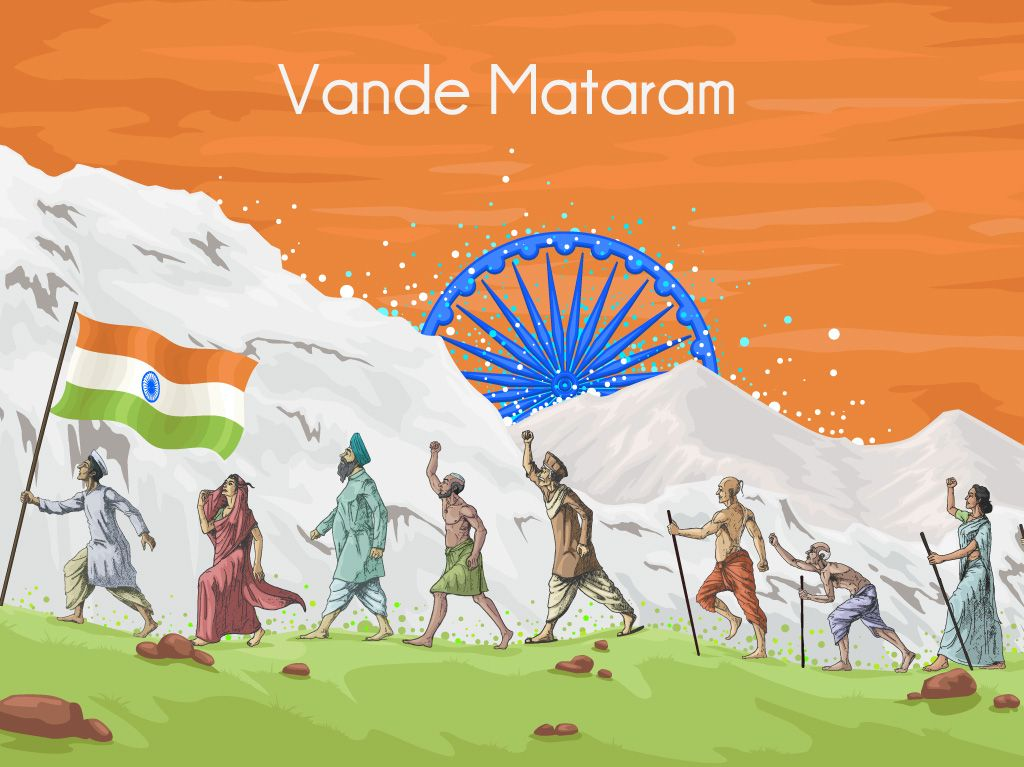 Independence day image showing people walking with flag ...
