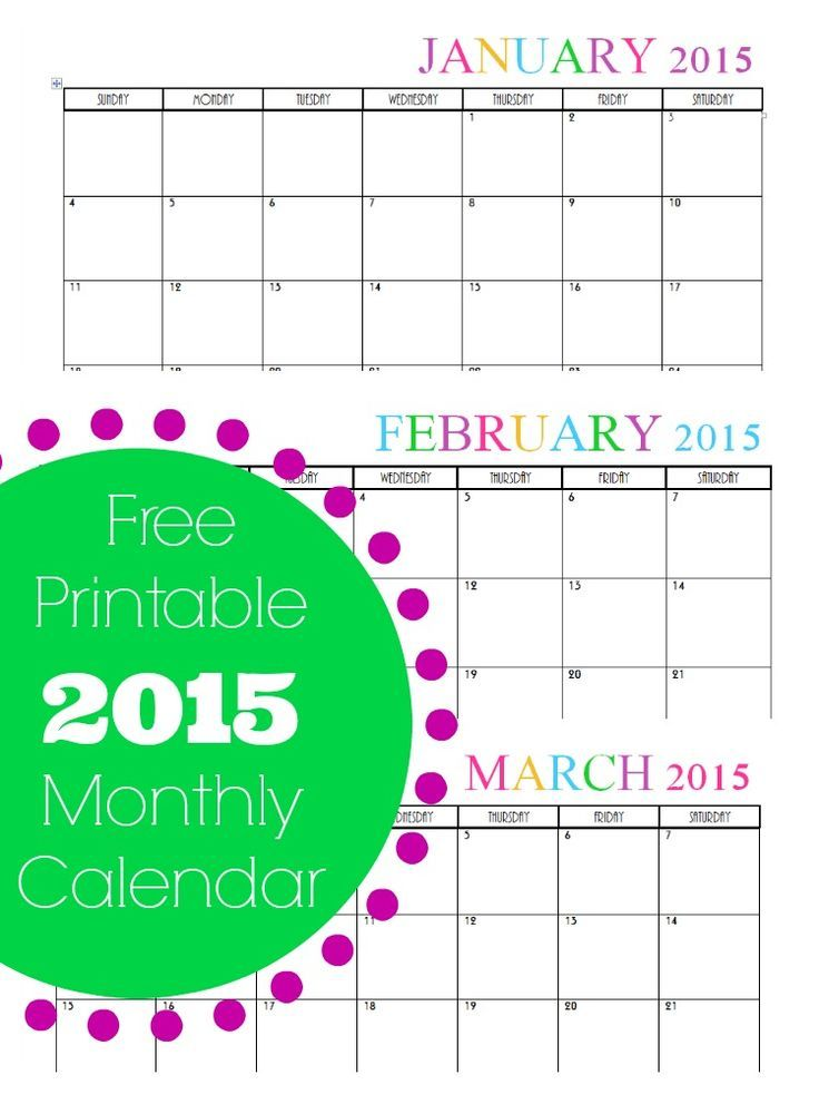 Pin by ardath albert on do it yourself pinterest heres a free printable monthly 2015 calendar its cute colorful and perfect for printing out at home solutioingenieria Gallery