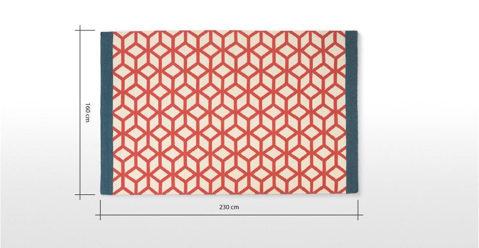 Eisa oosters geïnspireerd geometrisch vloerkleed 160 x 230cm, rood | made.com