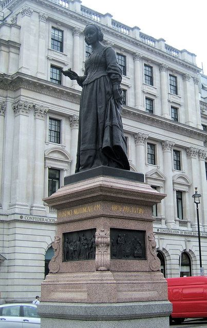 The statue to Florence Nightingale stands in Waterloo Place, London.
