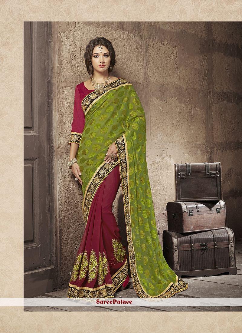 Modern saree models lovable georgette embroidered work designer half n half saree