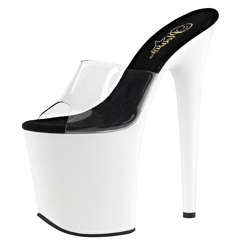 3dbdacf15b9 Womens White Shoes Neon UV Blacklight Reactive Platform Sandals 8 ...