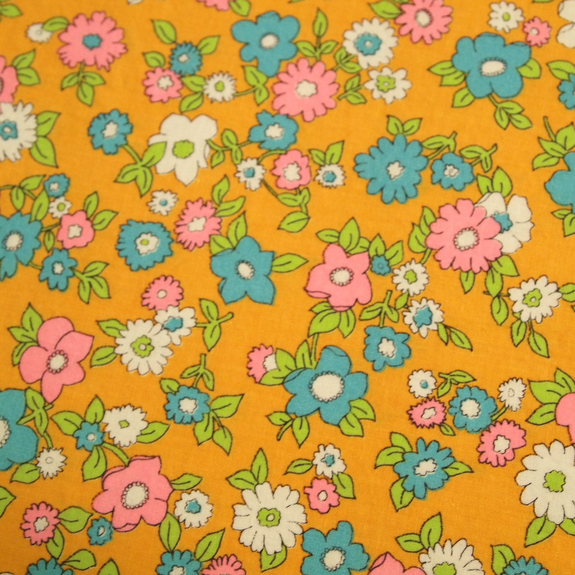 Vintage 1960s Flower Power Cotton Fabric Flower Print Pattern