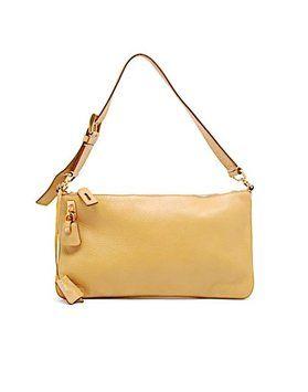 85a6909e4efc Pebble W/Hidden Lock & Key Attached Camel Leather Shoulder Bag ...