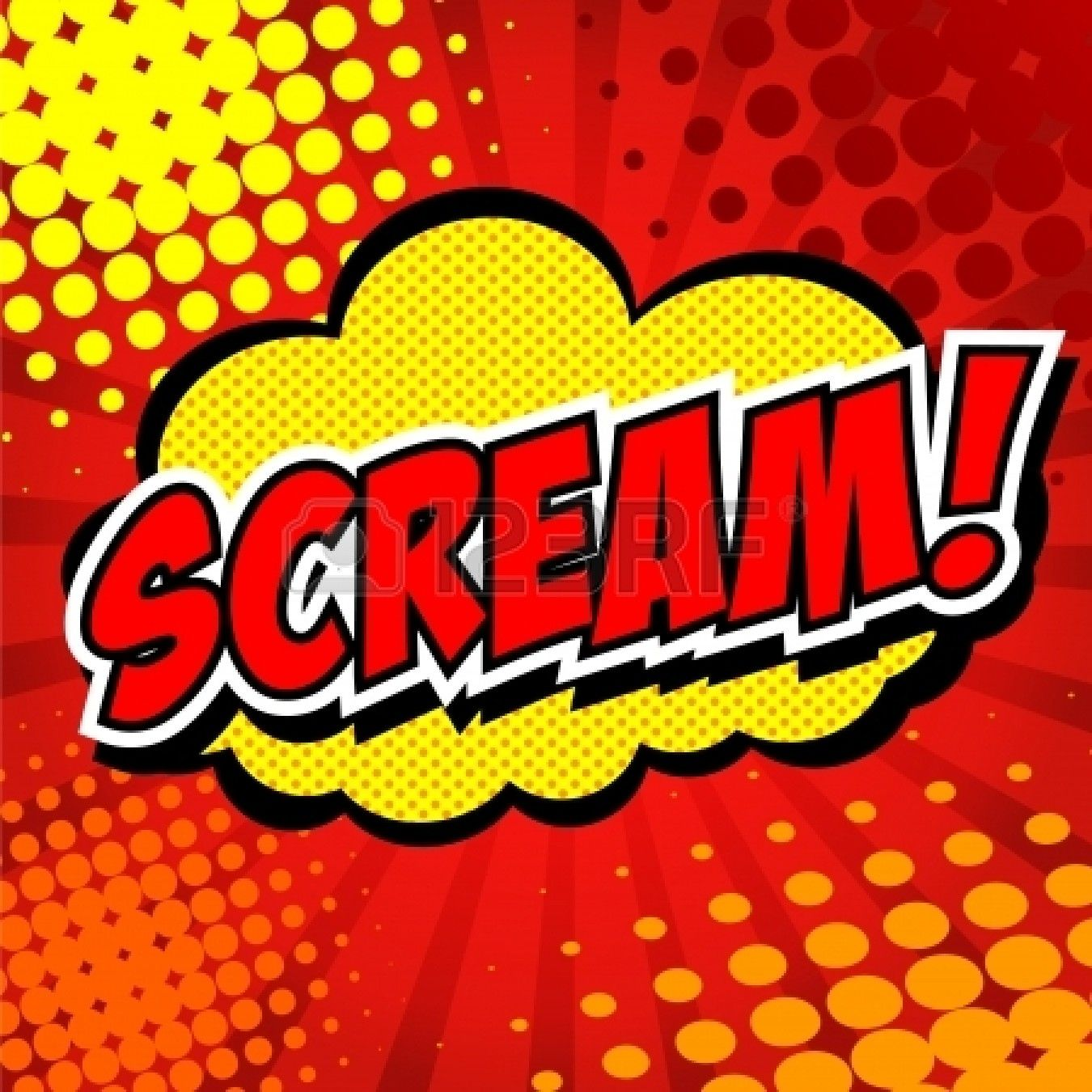 Scream Comic Speech Bubble, Cartoon by Jirawat Phueksriphan