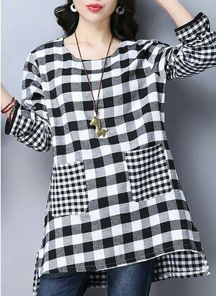 8903f81f2429 Corsage, Black Blouse, Gingham Shirt, Jeans, Long Tops, Linen Dresses,