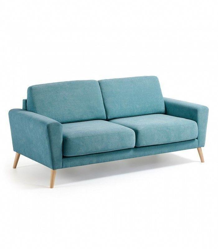 Sofa Moderno 3 Plazas Fyr Tapizado Azul Turquesa Sillonesmodernos Sofa Upholstered Sofa Kave Home