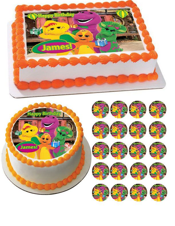 Outstanding Barney And Friends Edible Birthday Cake Topper Or Cupcake Topper Personalised Birthday Cards Xaembasilily Jamesorg