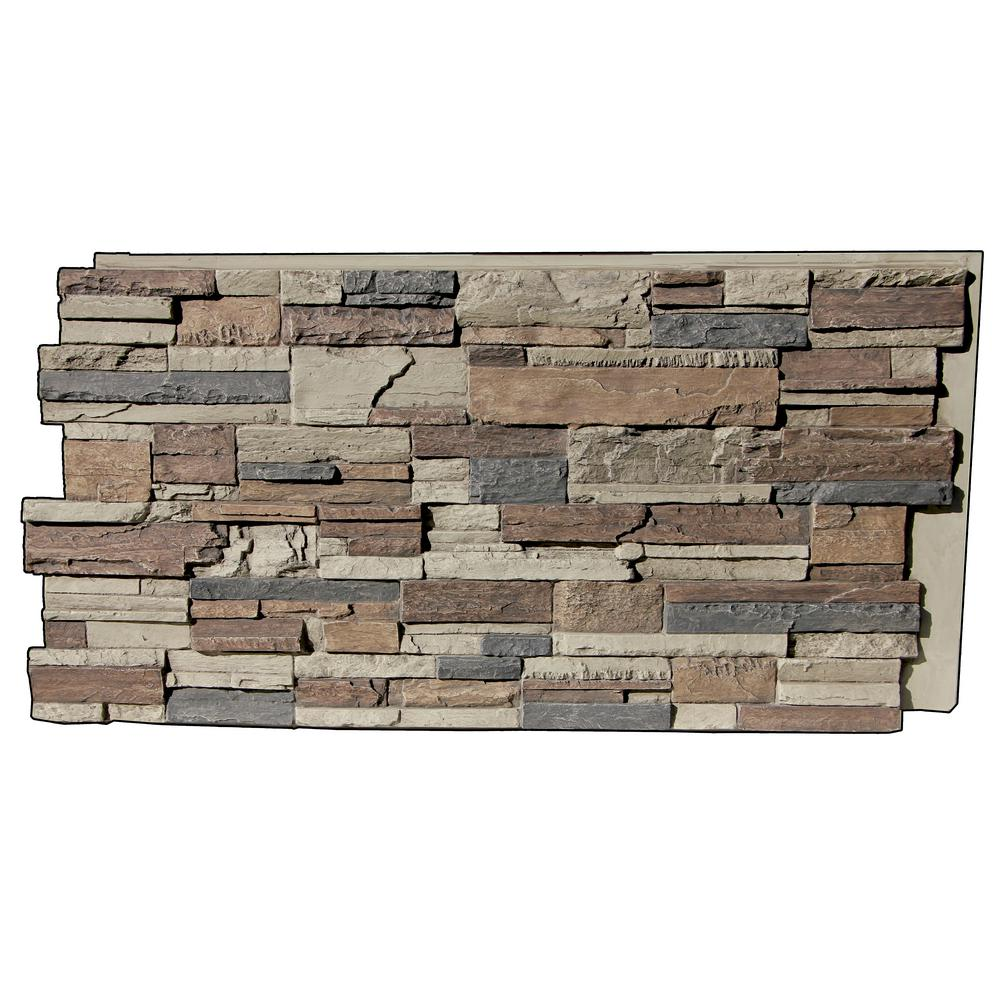 Superior Building Supplies Faux Tennessee 24 In X 48 In X 1 1 4 In Stack Stone Panel Rustic Lodge Hd Ken2448 Rl The Home Depot Stacked Stone Panels Stacked Stone Faux Stone