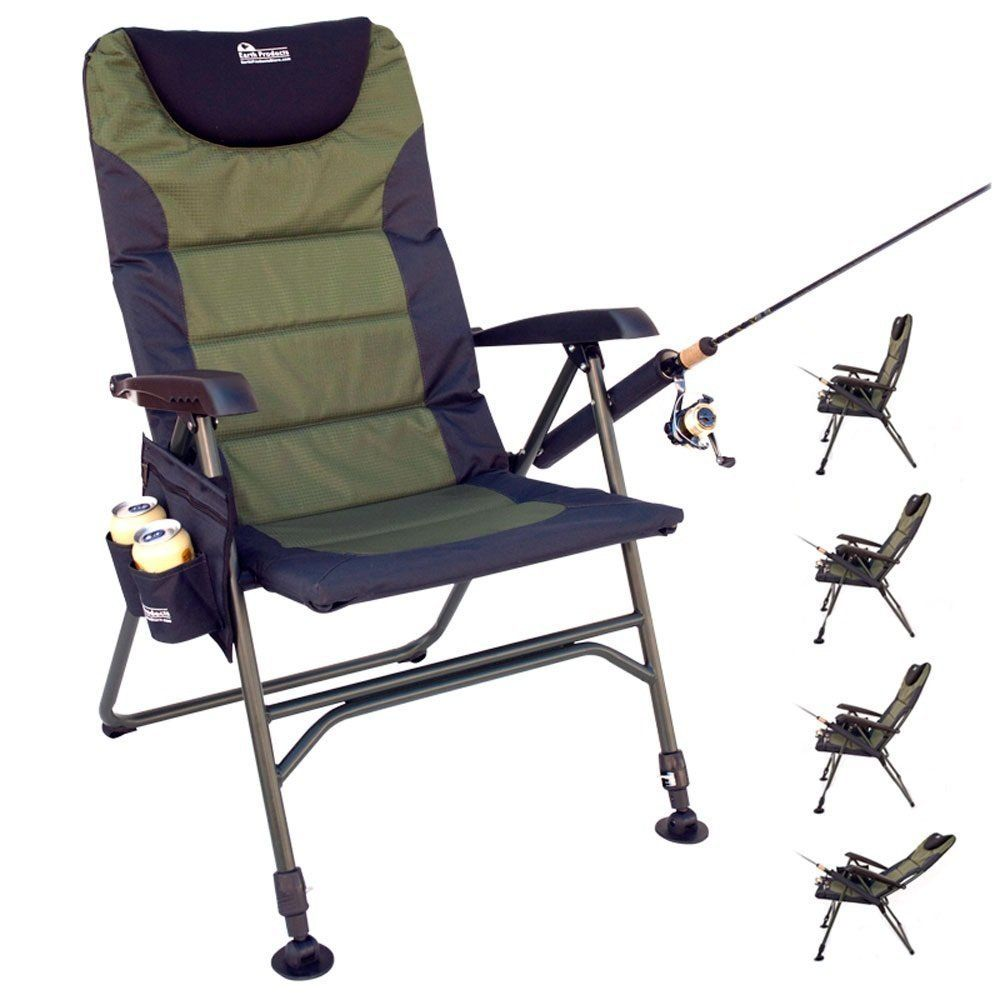portable reclining folding chair for fishing with integrated