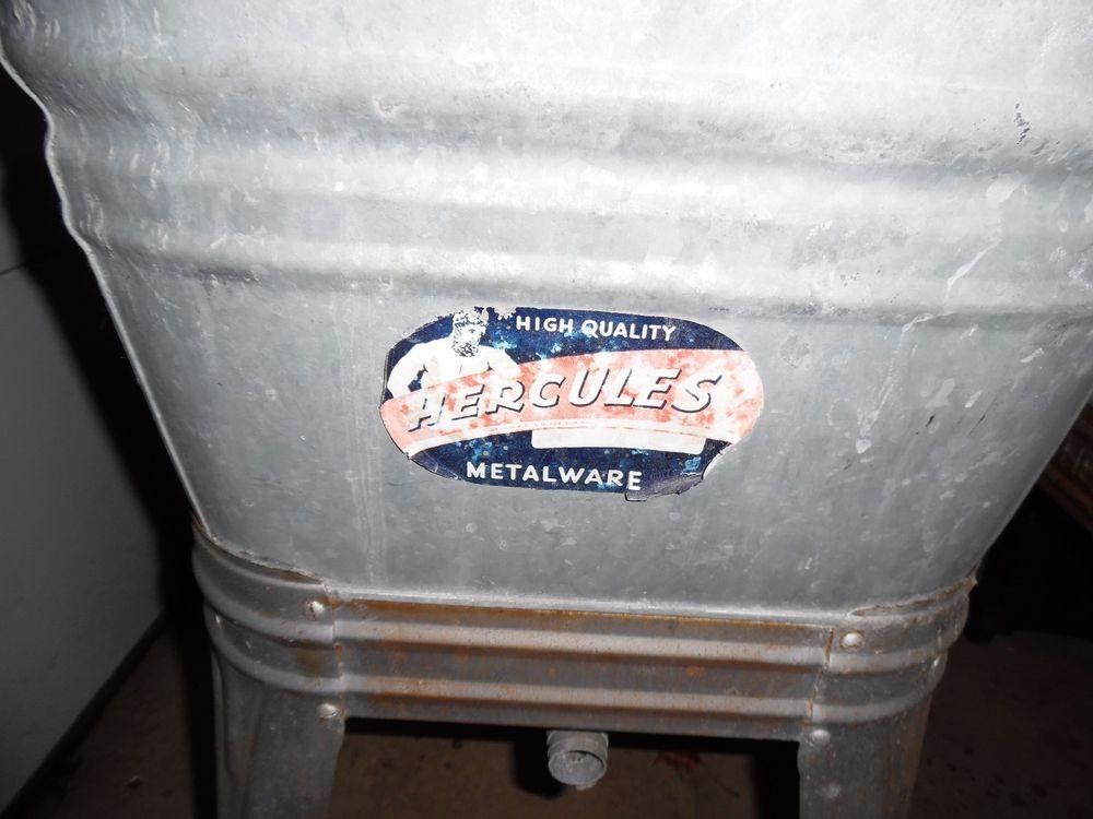 Vintage Primitive Galvanized Steel Single Wash Tub Sink Wheeled Stand Cooler Americana Wheeling Wash Tub Sink Metal Wash Tub Wash Tubs