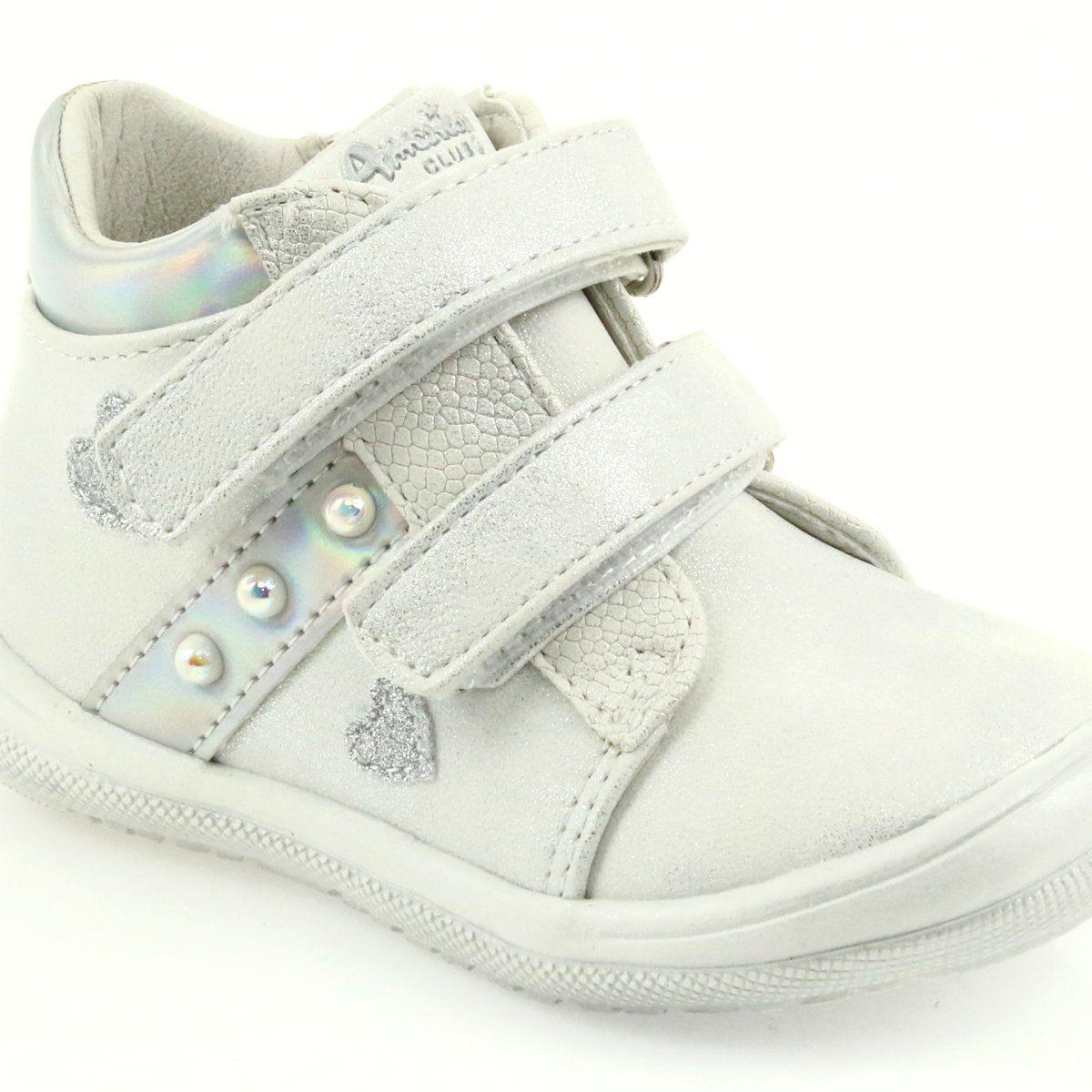American Club Adi Sportowe Buty Dziciece W Serduszka American Biale Szare Wedge Sneaker Shoes Sneakers