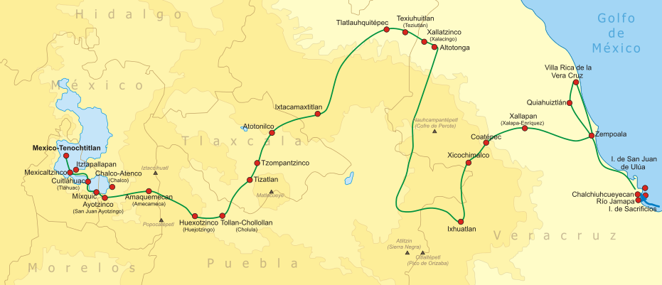 the route of the spanish conquest of the aztec empire in central mexicoused by