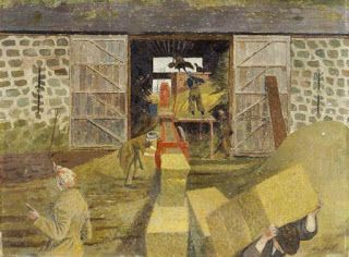 Evelyn Dunbar Threshing and Baling, Monmouthshire 1943  National Museum of Wales, Cardiff   There's an east wind blowing; the right-hand barn door is jammed open with a plank to prevent the wind catching it.  The noise must be indescribable, the chaff and dust everywhere ... and  Land Girls inside, stripped of their heavy coats, must be as grateful for a through-draught as those outside are grumbling about the sharp edge of the wind.   Text © Christopher Campbell-Howes 2012. All rights…