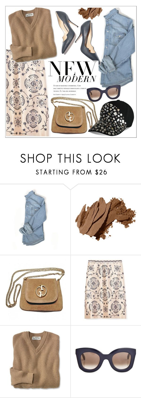 """""""New Modern-WIMNYC"""" by teoecar ❤ liked on Polyvore featuring Bobbi Brown Cosmetics, Paul Andrew, Gucci, Tory Burch, CÉLINE, Amica and modern"""