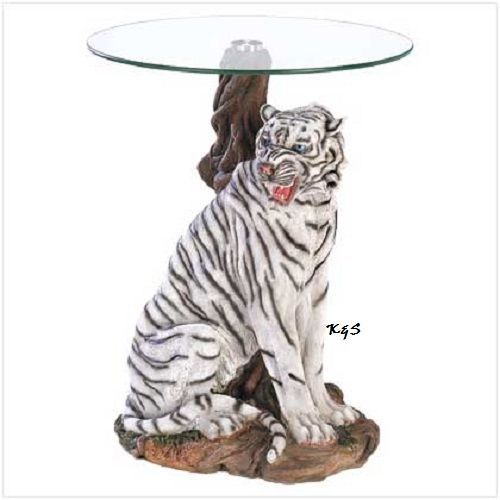 Would spray paint this fella gold.   GORGEOUS WHITE TIGER GLASS TOP ACCENT/END TABLE ~NICE ART GIFT 39587KSG~~NEW~~ #Contemporary