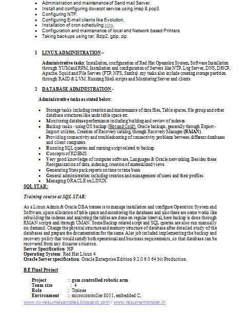 electronic resume sample