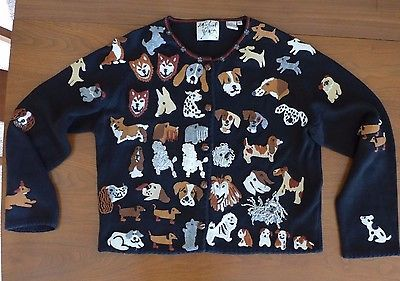 Michael Simon DOGS Cardigan Top Beads Embroidery Lots of Breeds XL Black Bust 44