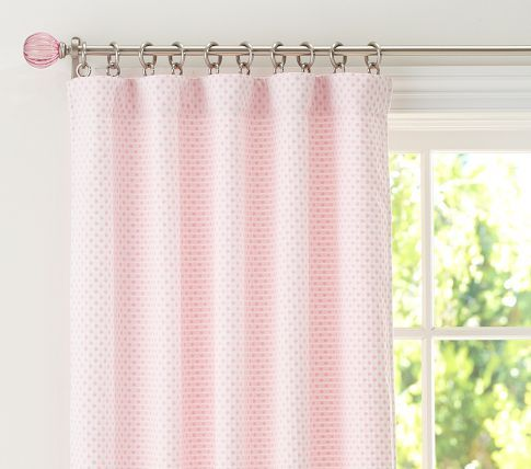 Curtains Pbk Audrey Chenille Dot Panel In Lt Pink Hung