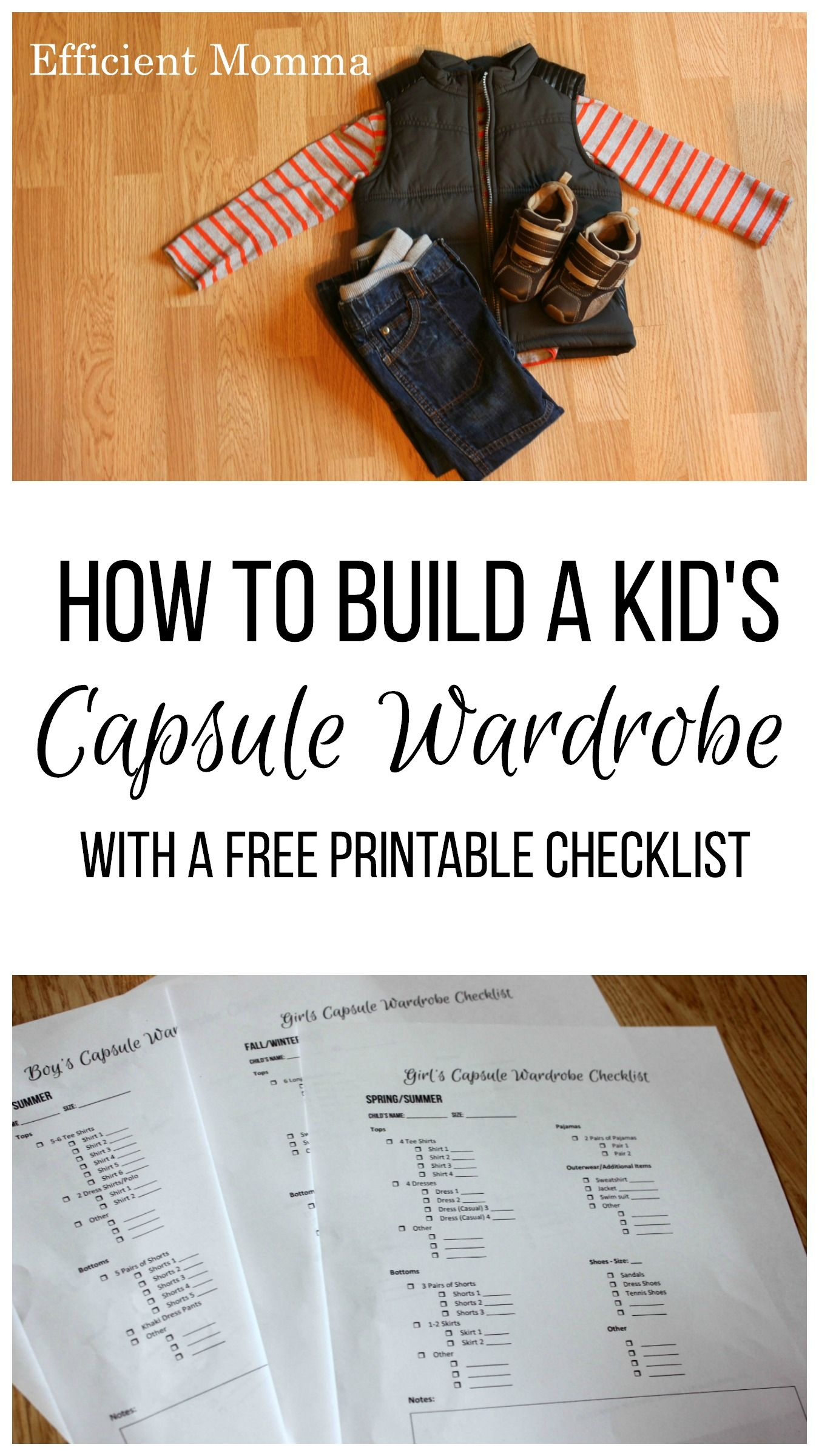 Great tips for building a kid's capsule wardrobe. Love the checklist to help