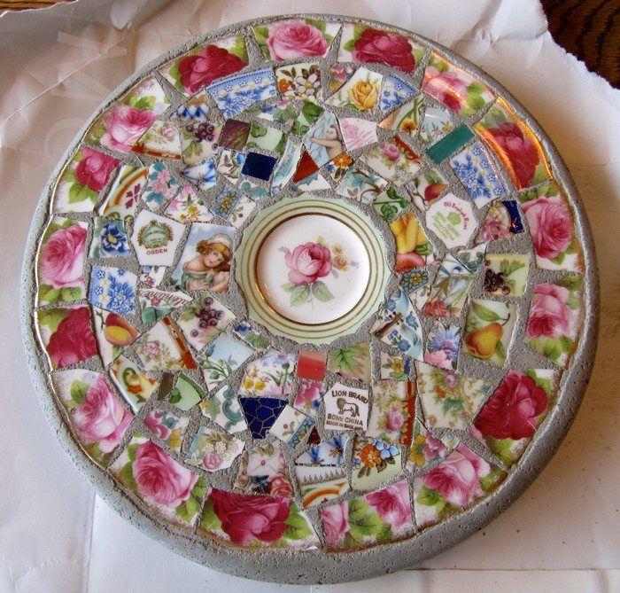 Make gorgeous stepping stones from broken china -   25 garden stones broken china ideas