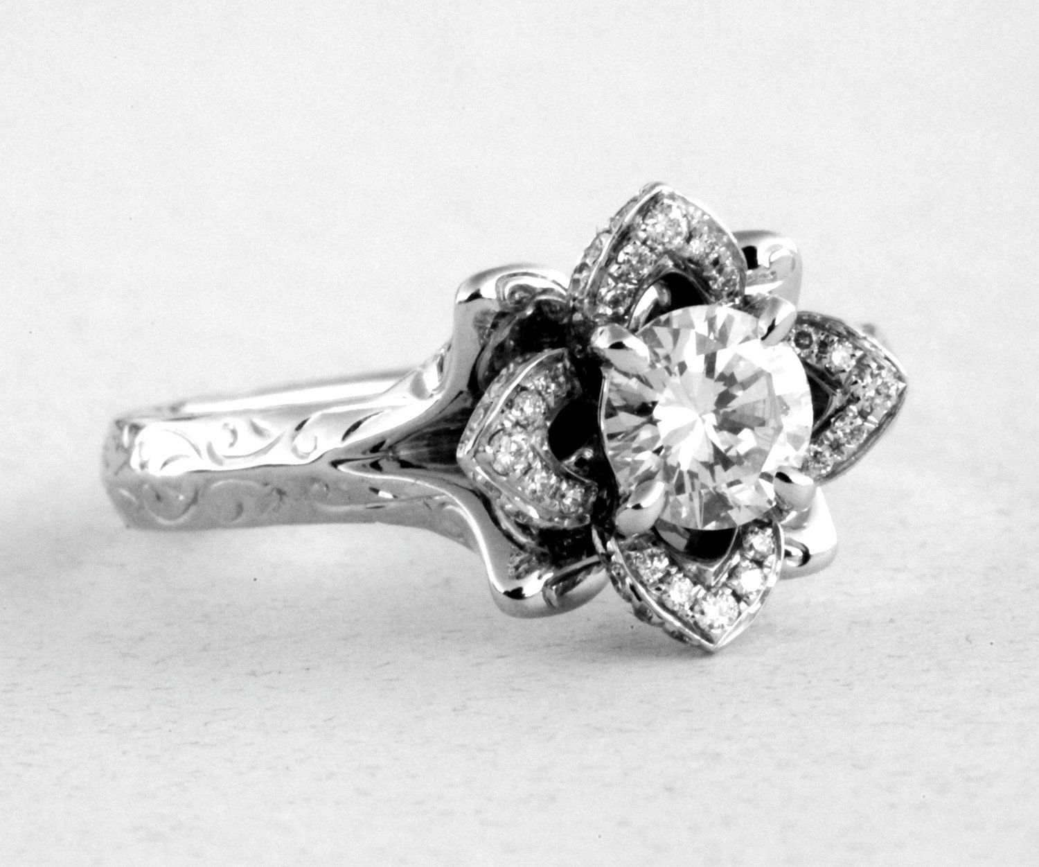 Engraved Unique Flower Rose Lotus Blooming Diamond Engagement Or Right Hand  Ring  100 Carat  Fl09