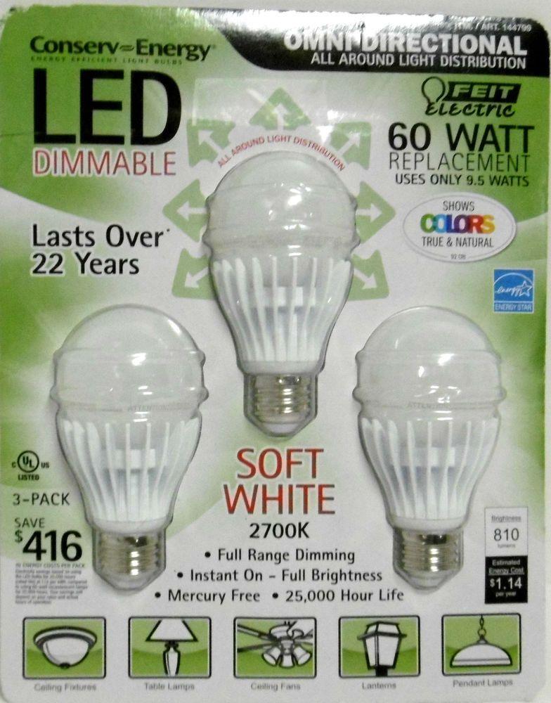 3 Pack 60w Led Feit Omni Directional 810 Lumens 60 Watt Bulbs Use Only 9 5 W B91 Feitelectric Electric Bulb Led Light Bulbs Led Lights