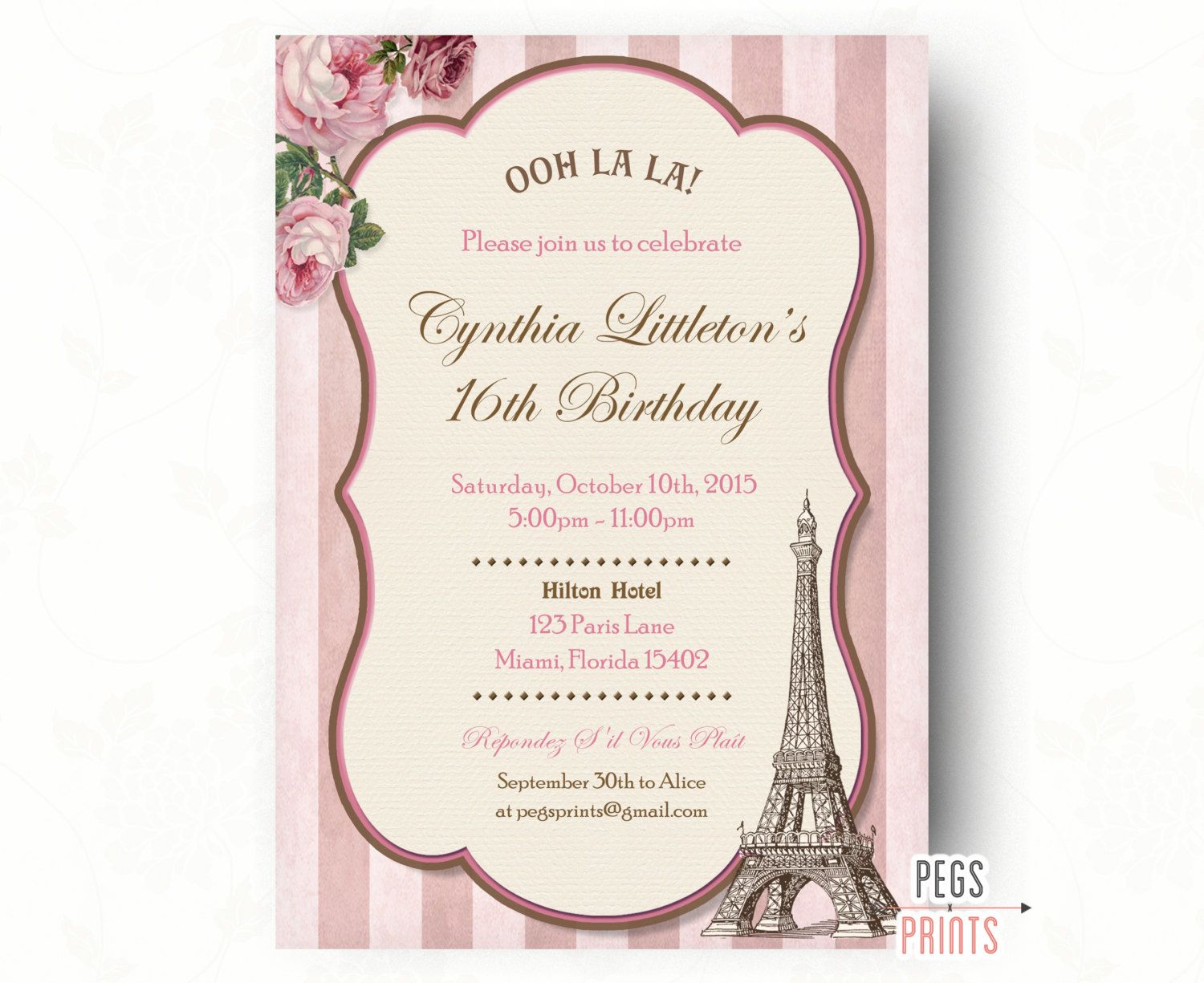 Paris Sweet 16 Birthday Invitations (Printable) Sweet Sixteen ...