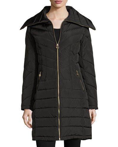 TDJGL MICHAEL Michael Kors Wide-Collar Puffer Coat, Black