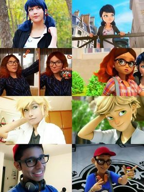 Miraculous Ladybug and Chat Noir Real Marinette, real Alya, real Adrien and real Nino. <3