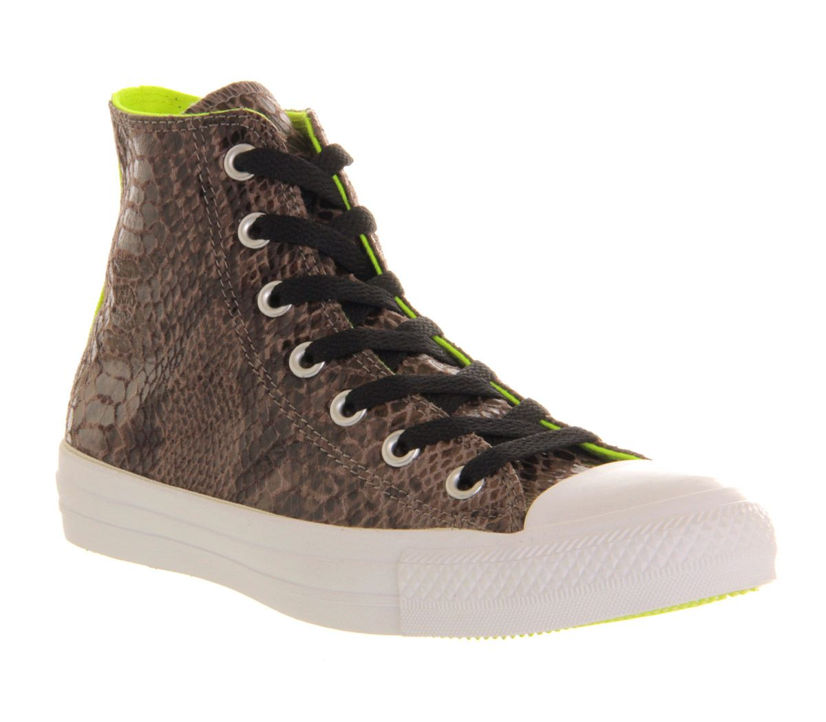 1f4980730b1603 Mens Converse Converse All Star Hi GREY SNAKE NEON YELLOW EXCLUSIVE  Trainers Sho