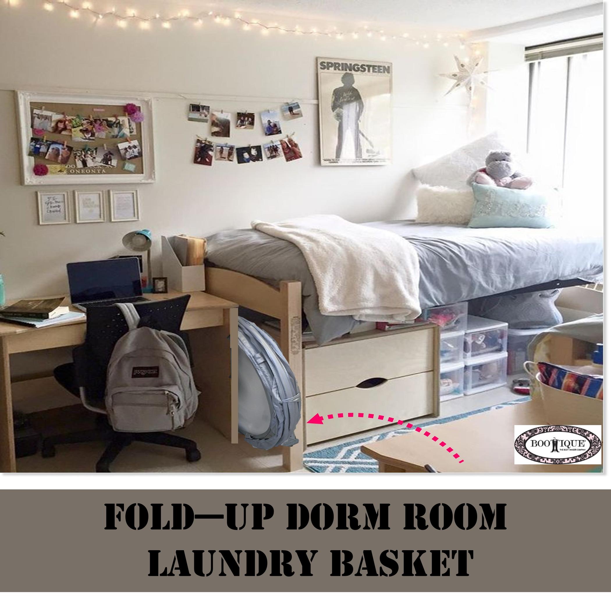 College Pop Up Laundry Basket Hamper Dorm Room Space Saving