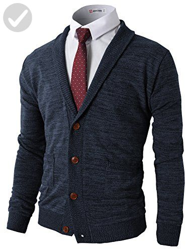 H2H Mens Basic Shawl Collar Knitted Cardigan Sweaters With Pockets ...