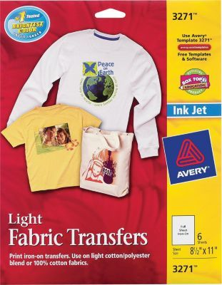 StaplesR Has The AveryR 3271 Inkjet Light Fabric Transfer Paper 8 1 2 X 11 6 Pack You Need For Home Office Or Business FREE Delivery On All Orders