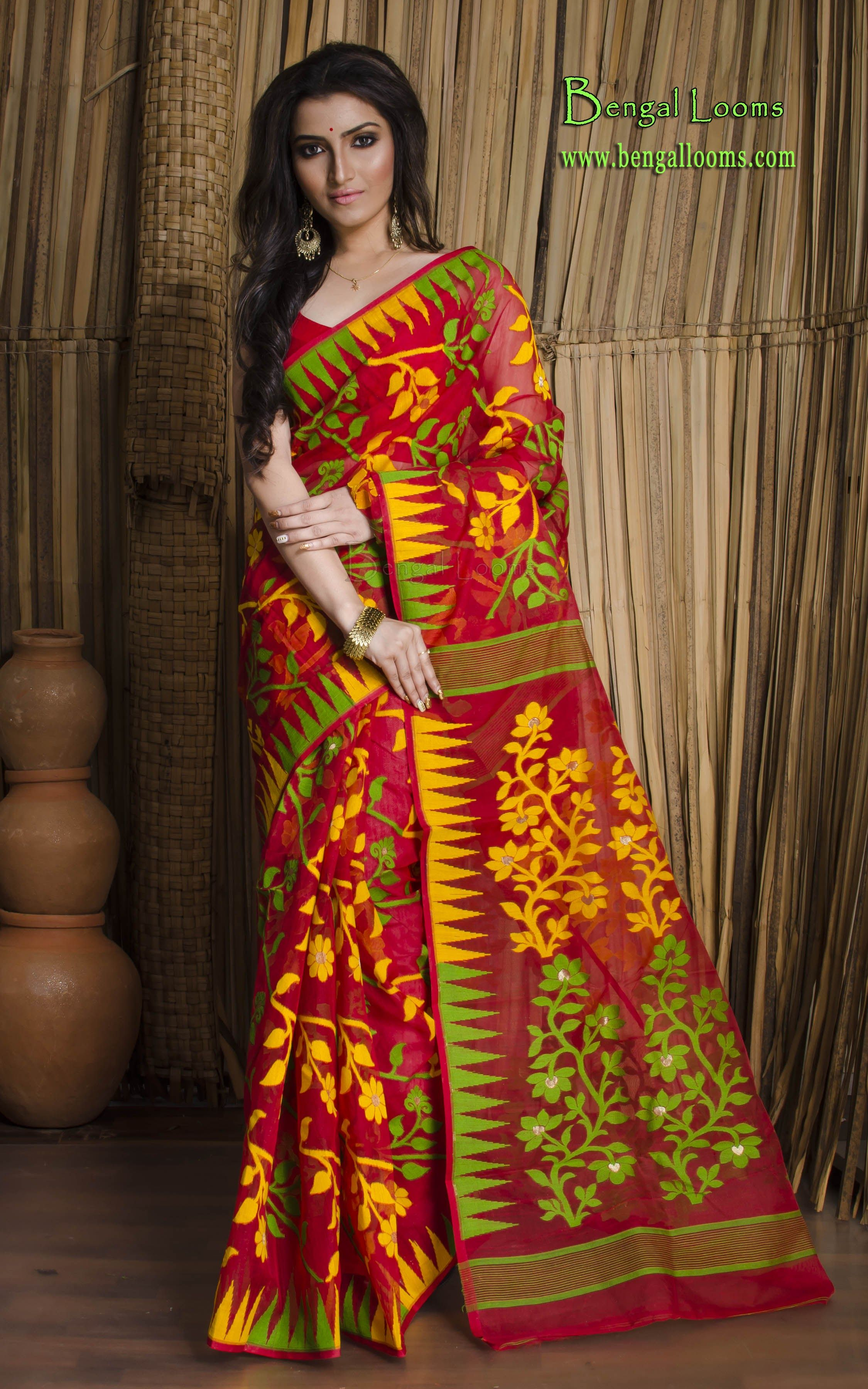 0c3ed8e043 Dhakai Jamdani Saree in Red, Yellow and Green | Handwoven Jamdani ...