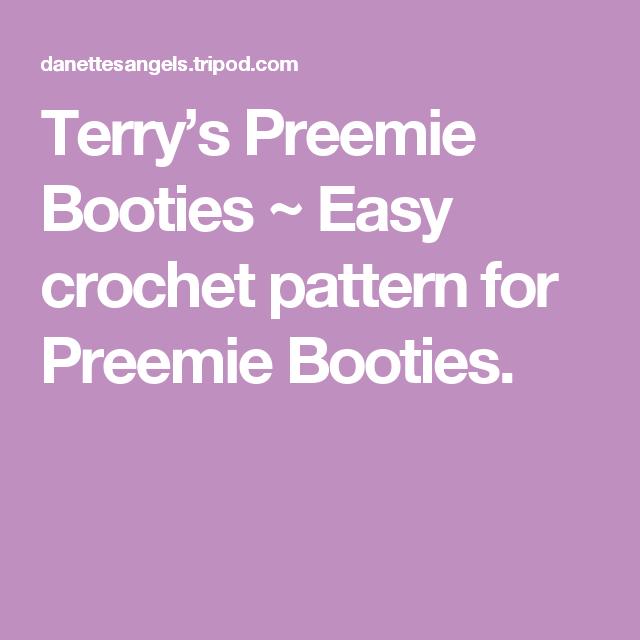 Terry\'s Preemie Booties ~ Easy crochet pattern for Preemie Booties ...