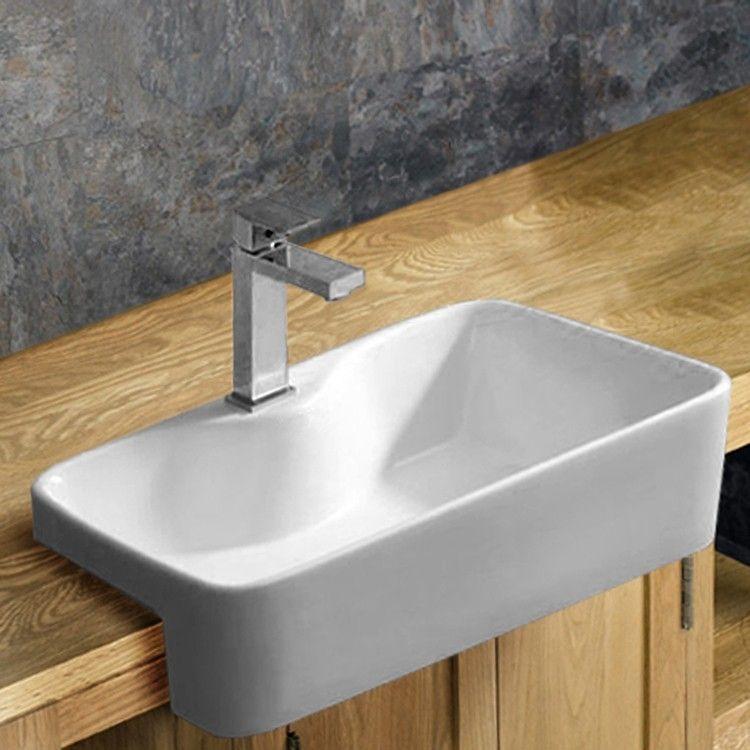 Semi Recessed White Rectangular Bathroom Washbasin 485mm X 375mm