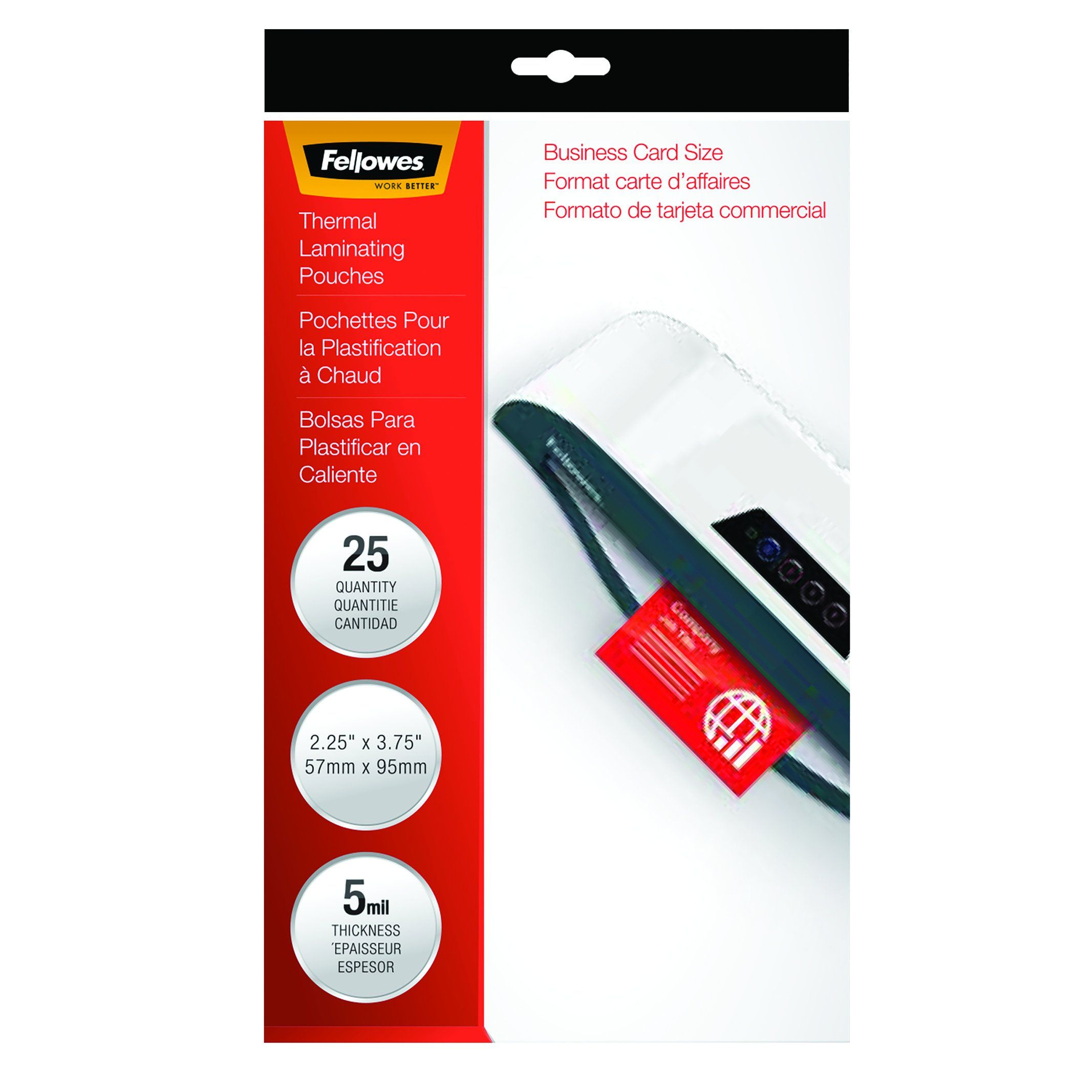 Fellowes Hot Laminating Pouches, Business Card Size, 5 mil, 25 Pack ...